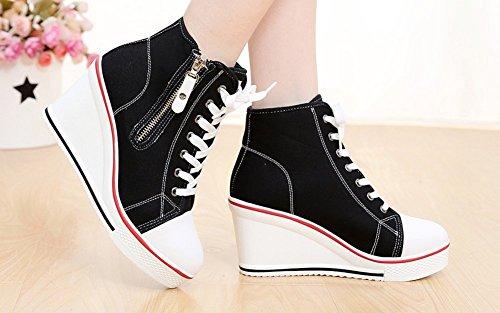 Baskets Fermeture ¨¦clair Mode Compens¨¦es Sneakers Tennis Chaussures Casuel Toile Femme Schwarz