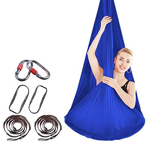 DSAEFG Antenna oscillante Yoga Hammock - Anti Gravity Yoga Towel Swing Elastico Yoga Hammock No Stitch Aerial Seta (Colore : Blu)
