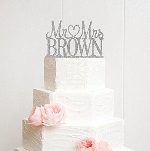 erter Herr und Frau Wedding Cake Topper Glitter Silver, Andenken Tortenaufsatz, Hochzeit Geschenke Funny (Herr Und Frau Wedding Cake Topper)