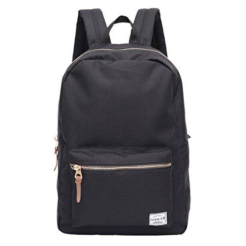 Damen Rucksack Settlement Unisex-Erwachsene Rucksackhandtaschen Rucksack Schwarz Jugend Backpack mit längenverstellbaren Gurten und glänzenden Gold-Accessoires