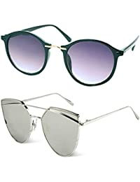 Y&S UV Protected Unisex Black Sunglasses for Womens