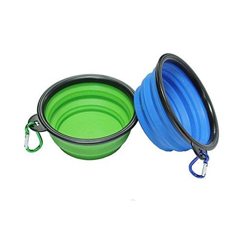 Haustier Futternapf 2 Stück Silikon Faltbar Tragbare Reisenäpfe Dishes für Haustier Hund Katze Schüssel (Blau und (In Schüssel Fisch Kostüm Eine)