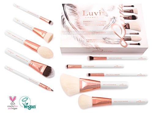 Luvia Makeup Pinsel Set - 10 Makeup Kosmetikpinsel Inkl. Schminktasche Für Schminkpinsel & Kosmetik - Feather White Brush Set - Vegan - Pinselset In Weiss/Rosegold