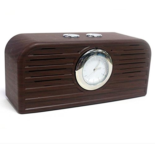 Transer® Moda Hdy-111 madera Grano de madera Retro Reloj Bluetooth altavoz - electrónico de nuevo (Café)