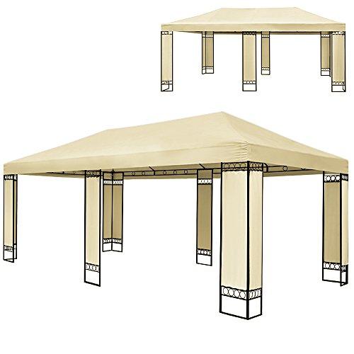 Doppel Luxus Pavillon 4x6m Metall Creme Partyzelt Gartenzelt Festzelt Pavillon Zelt Wasserabweisende...