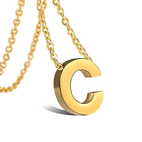 Alphabet C Anhänger Edelstahl Halskette für Damen, vergoldet 18K, Halskette mit Buchstaben in Gold Initiale Kette 45+5CM ()