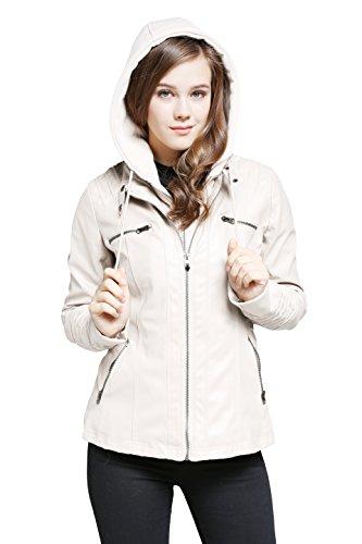 Brinny Damen Kapuzen Lederjacke Ladies Oberbekleidung Kunstlederjacke Leder Jacke Jacket Bikerjacke Weiß