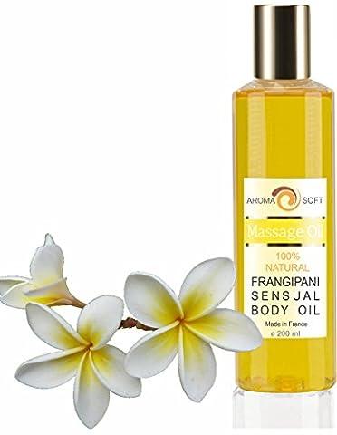 Huile de Massage Pure Végétale Raisin & Frangipani 200 ml ● Apaisante et Adoucissante ●100% Pure et Naturelle ● Hydratante ● bleumarine
