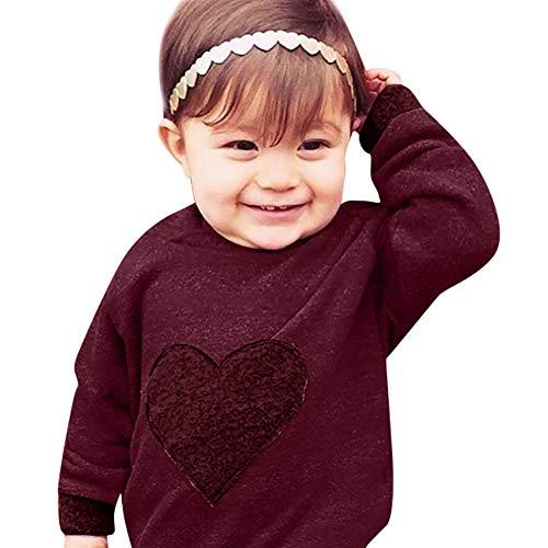 (Baby Mädchen Kleinkinder Babybekleidung Babymode Mädchenbekleidung Outfits Bio-Baumwolle Nachtwäsche Herz Kleidung Mit Kapuze Tops T Shirt + Hosen Outfits Set Felicove)