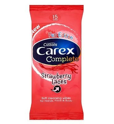 Carex Strawberry Laces Wipes x 15 by Carex
