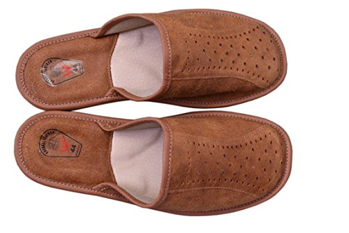 Natleat Slippers  Natural Leather Mens Slippers, Sandales Compensées garçon homme Brown / 2