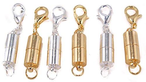 Chiusure magnetiche per gioielli, 6 pezzi, per collana, bracciale, catenina, (tre tonalità argento, tre oro), 13 x 6mm