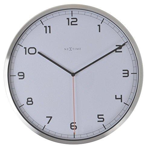 Nextime Reloj de Pared Company, Muy silencioso, Redondo, Blanco, Ø35 cm