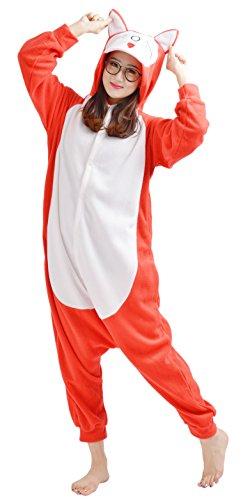 YARBAR Onesies des animaux Cosplay pyjamas unisexes adulte costume d'Halloween costume rouge Kigurumi Fox Carnaval Rouge