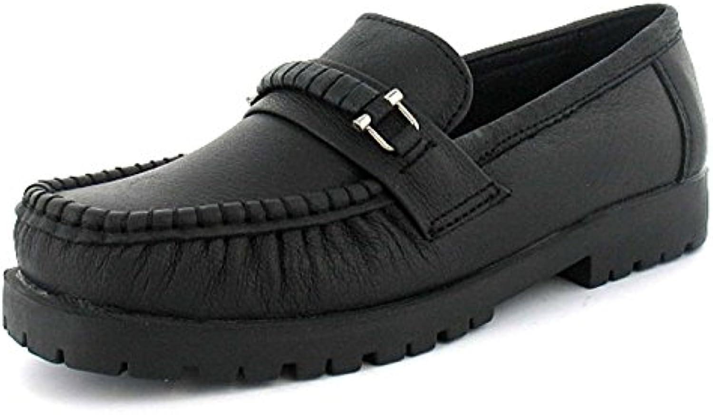 Mujer / mujer mocasín piel Informal Zapatos Con Metal ribetes Negro - GB Tallas 3-8