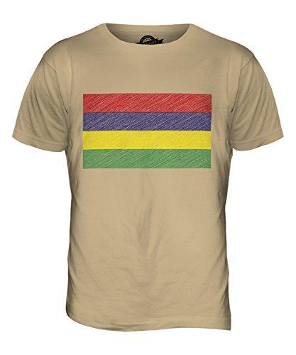 CandyMix Mauritius Kritzelte Flagge Herren T Shirt Sand