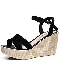 DANDANJIE Zapatos de Mujer de Cuero con Cordones de Verano Sandalias con Cuña Peep Toe Para Casual Negro Rosa...