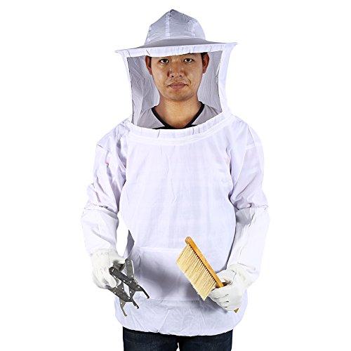 Zerone Bienenzucht Hardware, Schutzanzug Imker Bienenzucht Kleidung mit Hut Handschuhe Rahmen Bienenstocks, Bürste zu Biene Set Jacke Bienenzucht Voile Schutz