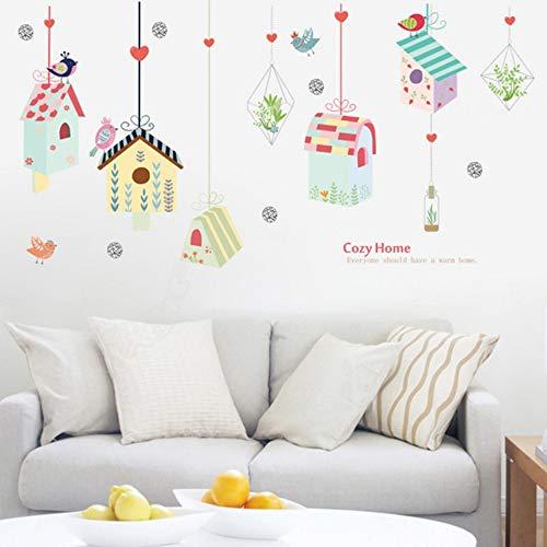 Cartoon vögel vogelkäfig grüne pflanze hängenden korb wandaufkleber für kinderzimmer schlafzimmer gemütliche dekoration diy vinyl wandtattoo