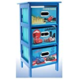 DISNEY CARS 2 STORAGE CABINET 3 DRAWER BEDROOM TOYS CLOTHS KIDS BLUE FURNITURE