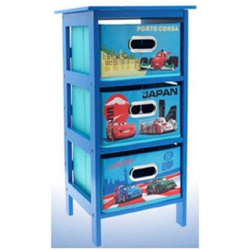DISNEY CARS 2 STORAGE CABINET 3 DRAWER BEDROOM TOYS CLOTHS KIDS BLUE FURNITURE
