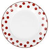 Van Well Geschirr Serie Funny Porzellan | weiß mit roten Punkten | Dessertteller 20cm