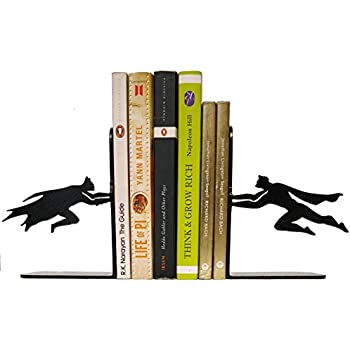 HeavenlyKraft Superheros Decorative Metal Bookend, Non Skid Book End, Book Stopper for Home/Office Decor/Shelves, Children Room Décor, 5.9 X 3.9 X 3.14 Inch Per Piece (Weight 2.5 Pound/Pair)