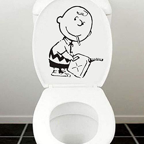 JIWAWAR Charlie Brown Wandkunst Aufkleber Aufkleber niedlichen Cartoon WC Dekoration Zubehör schwarz