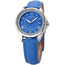 Comtex Women's Quartz Watches with Blue Tone Face and Analogue Date Display