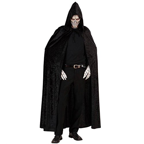 (Langer Umhang mit Kapuze Hexen Cape schwarz Vampir Umhangmantel Dracula Vampirumhang Kapuzenumhang Tod Samtumhang Mittelalter Halloween Kostüm Zubehör)