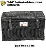Zemto Fahrradkorb schwarz & mittelgroß aus Rattan mit Deckel
