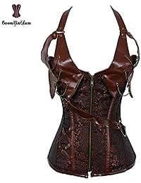 27008ff50bf HITSAN Halterneck Steampunk Corset Top Faux Leather Buckle Zipper Belt  Chain Punk Outfit Corselet Overbust Plus Size…
