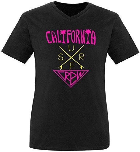 EZYshirt® California Surf Crew Herren V-Neck T-Shirt Schwarz/Pink/Gelb