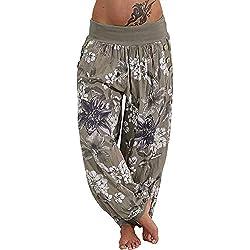MORCHAN ❤ Femmes Pantalons décontractés Impression Large Jambe Bouton de Poche lâche Jeans Sarouel Combinaisons Collants Courts Pantalon Leggings Knickerbockers(2XL,Armée Verte)