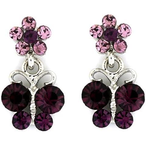 Con cristalli Swarovski con ametista, colore: viola con fiori e insetti &-Orecchini a goccia con