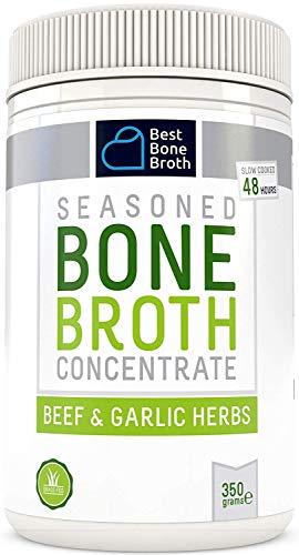 Concentré de bouillon d'os de bœuf avec herbes à l'ail - Riche en collagène afin de contribuer à améliorer la santé intestinale, la fermeté de la peau et la santé des cheveu - Nourri à l'herbe