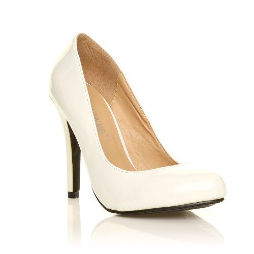 HILLARY Scarpe da donna con tacco alto stiletto colore bianco lucido pelle PU bianco pelle lucida