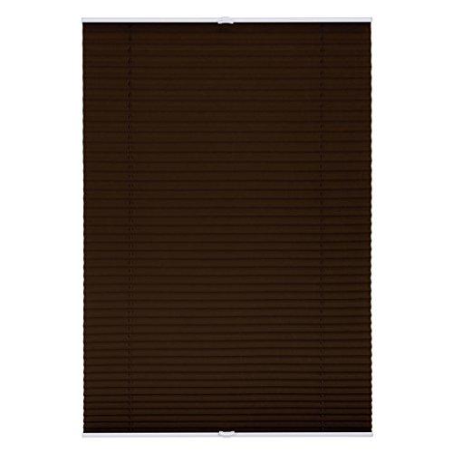 Lichtblick Plissee Klemmfix, 45 cm x 130 cm (B x L) in Braun, ohne Bohren, Sicht- und Sonnenschutz, lichtdurchlässig & blickdicht (24 Aluminium-jalousie)
