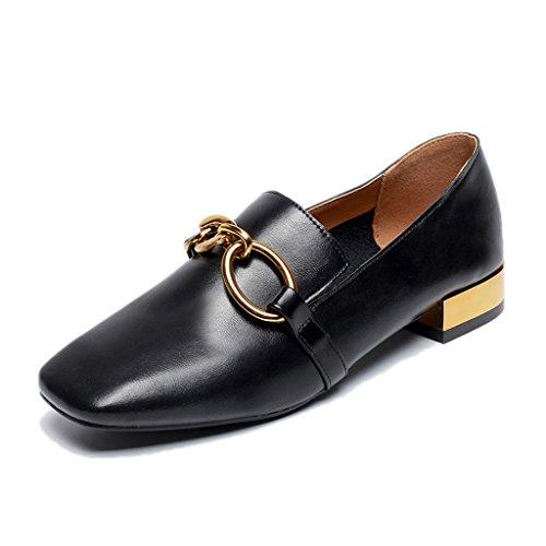 Chaussures femme HWF Été Chaussures en Cuir Femme Étudiant Noir Britannique Style Casual Chaussures pour Femmes