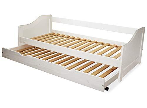 KMH®, Kinderbett/Ausziehbett mit ausziehbarem Bettkasten, incl. 2 Lattenroste (90 x 200 cm/Weiss) (#201101)