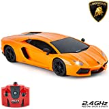 CMJ RC Cars Lamborghini Aventador Official Licensed Remote Control Car for Kids with Working Lights, Radio Controlled On Road RC Car 1:24 Model, 2.4Ghz Orange, Great Toys for Boys and Girls