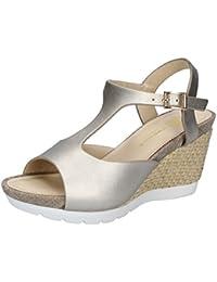 Scarpe donna CARMENS sandali bianco pelle platino AF654 zooode grigio Pelle