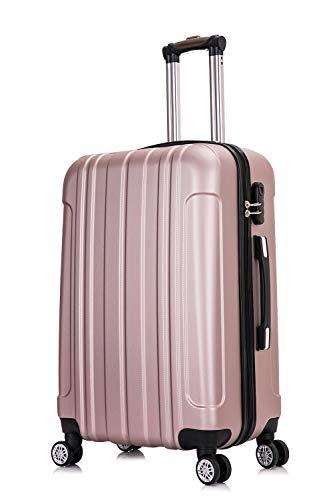 Frentree Hartschalen-Koffer   Trolley Reisekoffer Handgepäck mit 4 Rollen M-L-XL-Set zum Auswahl, Größe:M, Farbe Koffer 11:Rose Gold