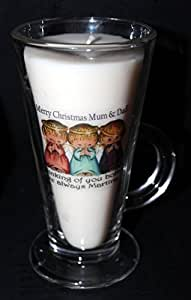 Cadeau de Noël pour les amateurs de café Latte en verre bougie Carte Cadeau personnalisée