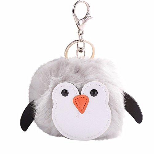 OSYARD Schlüsselanhänger,Keychain,Niedlich Pinguine Schlüsselringe Keyring aus Kunstfell,Fellbommel Bommel Kind Mädchen Geburtstagsgeschenk Rucksäcke Taschen Anhänger Schlüssel Ring -