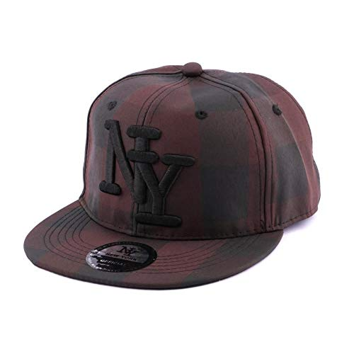 Hip Hop Honour Snapback NY Carreaux Marron et Noir - Mixte