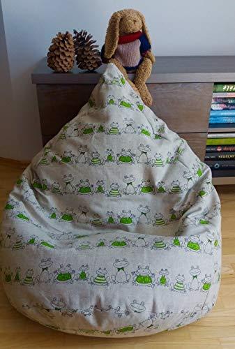 Frosch Bodenkissen (Sitzsack Froschkönig Leinen Bezug Kinderzimmer Dekor Kinder Sitzsäcke Skandinavischer Wohnstil Frosch Muster Grün Mit Innenbezug OHNE FÜLLUNG)