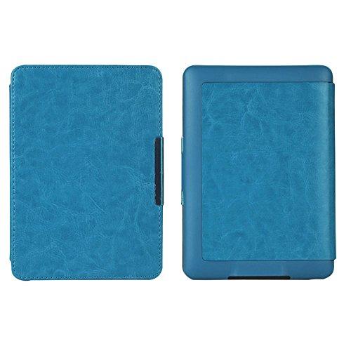 Auntwhale Schlankes PU Leder intelligentes E Buch Kasten Abdeckungs Hand für Kindle Paperwhite 1/2/3 Blau (Kindle-buch-kasten-abdeckung)