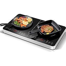 Aobosi Plaque à induction, plaque de cuisson à induction double, table de cuisson portable, commande par capteur et plateau en verre cristal, 3500 Watt, fonction minuterie