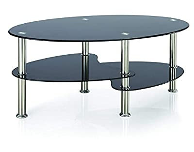 Vida Designs Cara Glass Coffee Table with Oval Stainless Steel Legs, Black